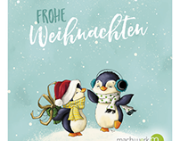 Frohe Weihnachten | Pinguine  | greeting card |