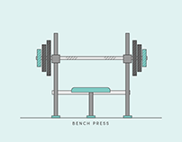 Gym & Fitness Flat Vector Line Graphics
