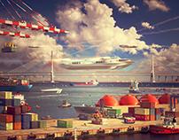 """Port and Bridge of Vladivostok"" Ad Visual"