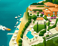 Luxury Italian hotel travel posters series.