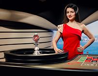 Roleta Brasil. Contemporary live casino studio design.