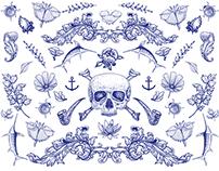 Indigo Blue - Portuguese Skulls