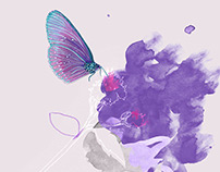 Butterfly hovering over a blossom illustration.