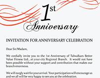 1st Anniversary Event Invitation