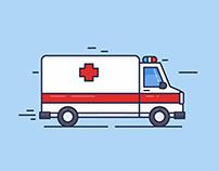 Ambulance Truck Outline Illustration