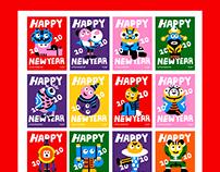 """ 7leaf的新年小怪兽""happy new year"