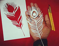 Peacock feather- Hand cut paper Art