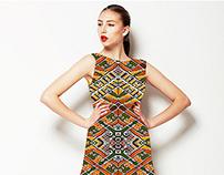 Tribal Diamonds Textile Pattern in Warm Tones