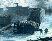 Train crash concept art
