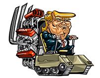 Trump on a tank