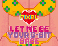 Pixel Love greeting cards #5&6 8-bit beefcake and babe
