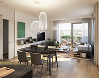 Living room - residential building Costanza 11 Milan