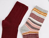 2 Set Multicolor & Burgundy Socks for Bershka_ AW16·17