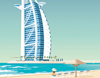 Dubai United Arab Emirats Retro Travel Poster