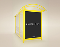 Modern Bus Stop Signs Mockup Templates
