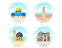 Jerusalem flat icons