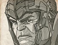 Incredible Hulk Line Illustration