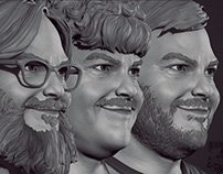 3 shades of Black - Jack Black likeness study