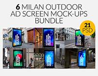 Milan Outdoor Advertising Screen Mock-Ups Bundle