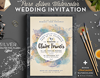 Pure Silver Watercolor Wedding Card