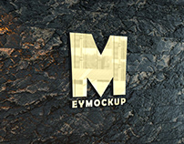 Free Stone Wall Gold Logo Mockup