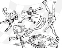 Various B&W Line Art Illustrations