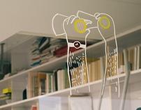 """Daily in white"" binoculars illustration installation"