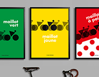 Tribute posters of the Tour de France jerseys