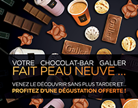 Flyer for the reopening of Galler chocolate bar