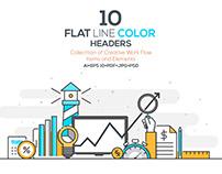 Set of Color Line Design Headers