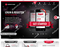 website template design with web elements