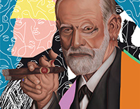 Sigmund Freud - commissioned digital painting
