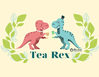 Tea Rex seamless pattern