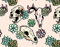 Skull and Succulent Repeating Pattern + Package Design
