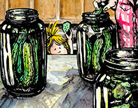 """Pickling with El"" ink and watercolor book illustration"