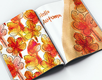 Watercolor mulberry leaves. Autumn design.