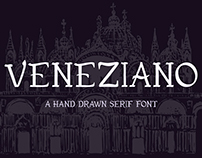 Veneziano hand drawn serif font
