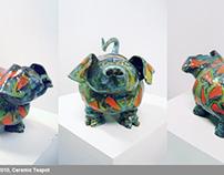 """Piggy at the Rave"" Ceramic Teapot"