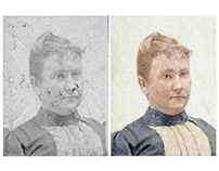 Restoration/colorisation of a damaged photograph c 1890