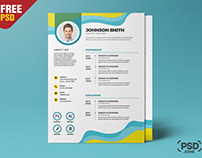 Beautiful and Designer A4 Resume CV PSD Template