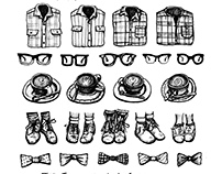 Hipster Style Pen and Ink Illustration & Fine Art Print