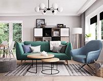 salon z zielona kanapa