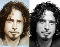 Portrait Of Chris Cornell - painting and photo