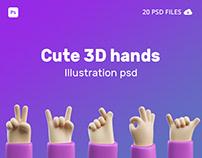 Cute 3D hands illustration gesture psd
