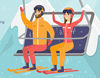 Ski resort illustrations