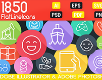 1850 Flat Line Icons Bundle for Designers and Developer