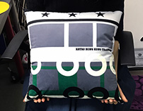 Retro Means of Transports in Hong Kong Style Cushion
