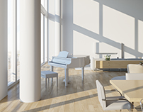 Penthouse Interior Rendering, Beverly Hills CA