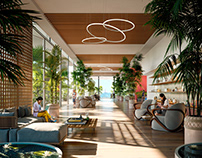 3D rendering of a hotel lobby