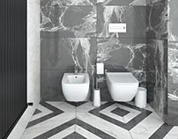 Minimalism in the interior. Guest bathroom .(2016)